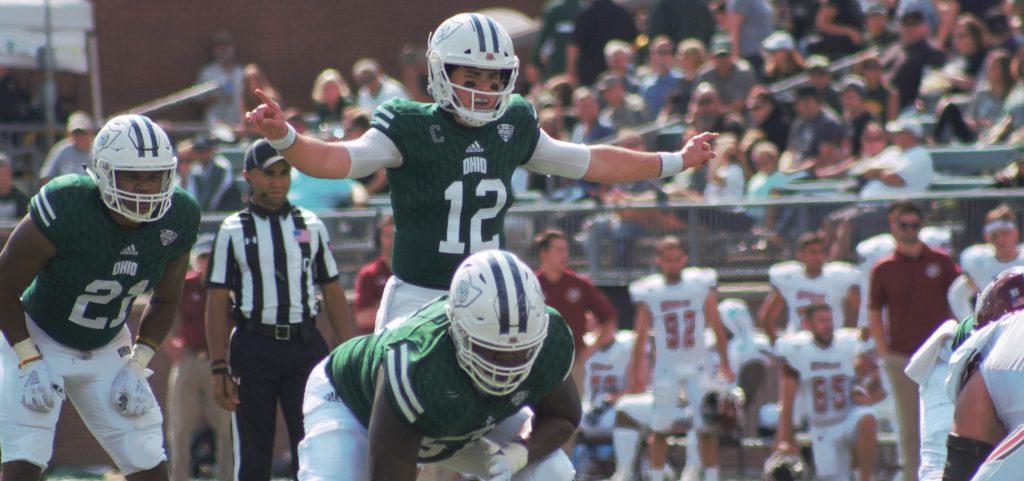 Ohio junior quarterback Nathan Rourke helps leads Ohio to a 58-42 victory over UMass.  | Ben Wielgopolski WOUB