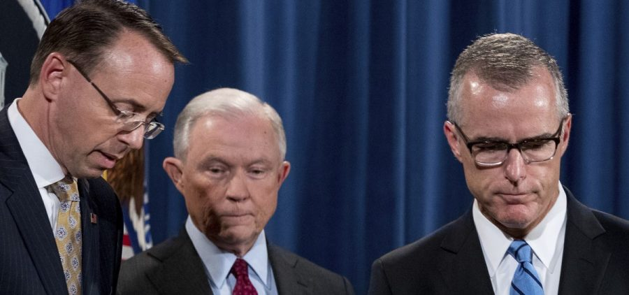 Then-FBI Acting Director Andrew McCabe, right, Attorney General Jeff Sessions, second from left, and Deputy Attorney General Rod Rosenstein have been political targets of President Trump.