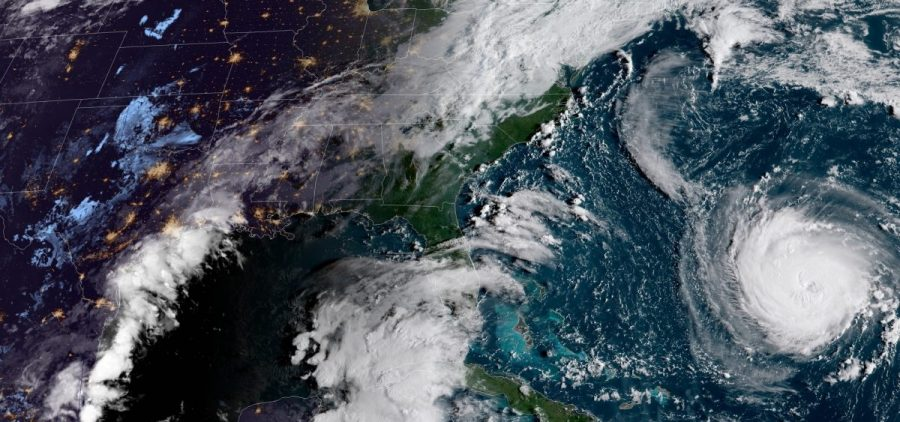 A satellite image shows Hurricane Florence bearing toward the coast of North Carolina. The storm is predicted to make landfall as a major hurricane late this week.