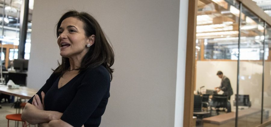 Facebook's chief operating officer, Sheryl Sandberg, was interviewed at the company's offices in Menlo Park, Calif. She faces questions from Congress about combating foreign interference.