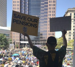 A union miner at the rally for pension protection.