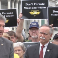 West Virginia Sen. Joe Manchin with miners on Capitol Hill.