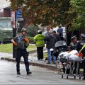 First responders surround the Tree of Life Synagogue in Pittsburgh, where a shooter opened fire Saturday morning.