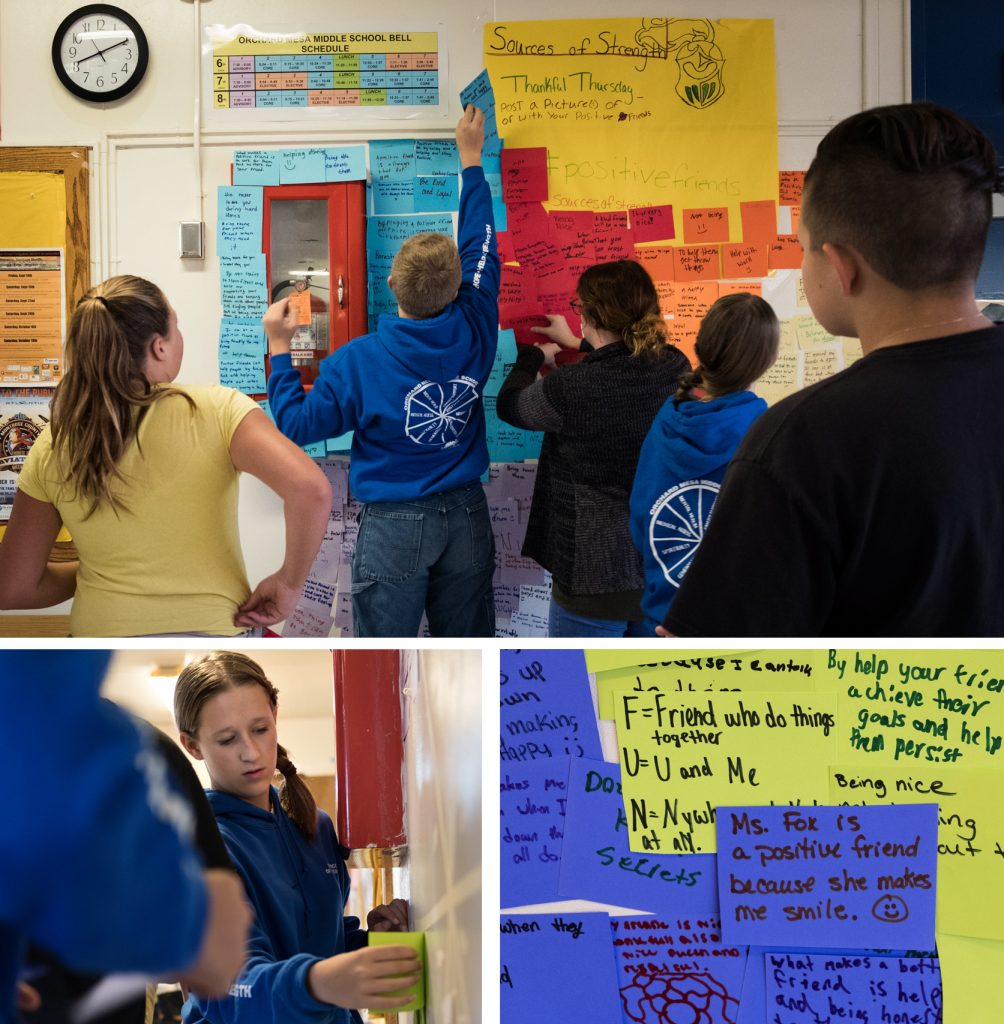 Middle school kids in the Sources of Strength program at Orchard Mesa Middle School hang cards that fellow students wrote on what makes a good friend on the wall of the school cafeteria. (Bottom left) Lily Lee is one of the mentors in the program.
