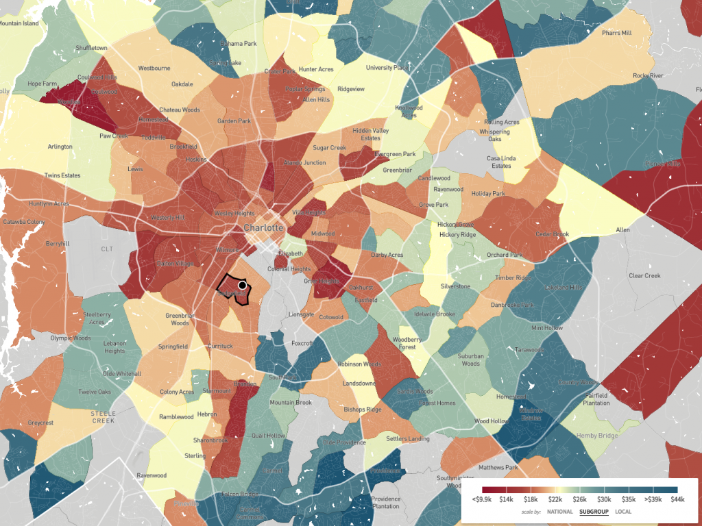 This map, a screenshot from The Opportunity Atlas, shows household income in 2014-2015 for African-Americans born between 1978 and 1983 to low-income parents. Sedgefield Middle School is in a part of Charlotte where blacks who grew up in low-income households tended to stay low-income.