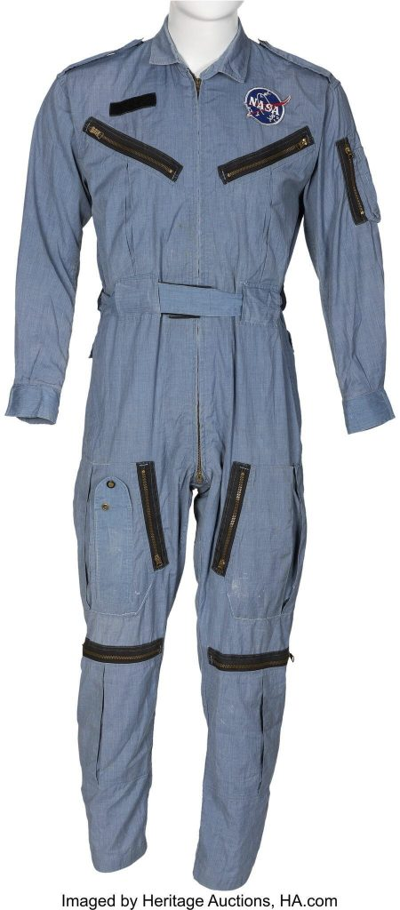 This undated photo provided by the Dallas-based Heritage Auctions shows the flight suit Neil Armstrong wore aboard Gemini 8, the 1966 mission that performed the first docking of two spacecraft in flight. Memorabilia that belonged to the first man to set foot on the moon, Neil Armstrong, has fetched more than $7.4 million at auction. (Heritage Auctions, HA.com via AP)