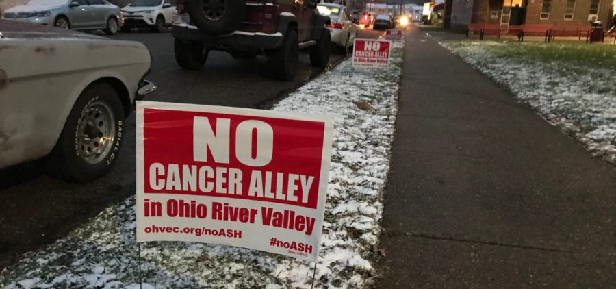 Environmental groups posted signs in Shadyside, OH.