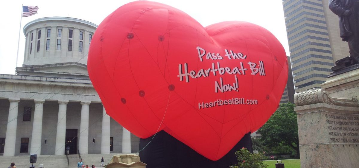 A large balloon in support of the Heartbeat Bill.
