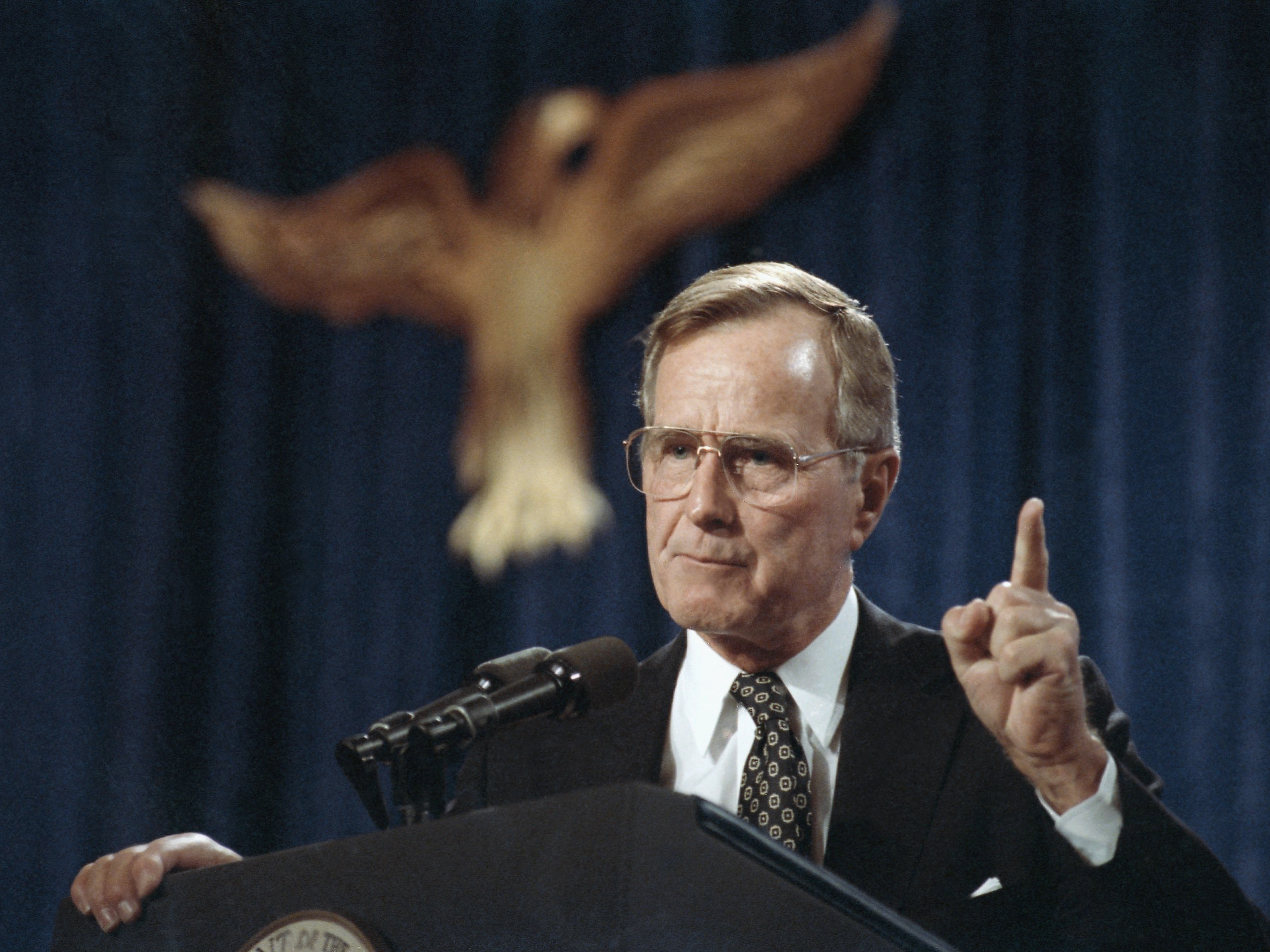George H.W. Bush, the 41st president of the United States, speaks at a fundraiser in Dallas in 1991.