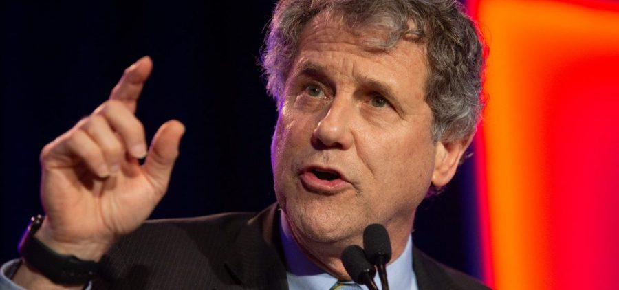 Sen. Sherrod Brown gives his victory speech at the Ohio Democrats 2018 Midterm Election Night Watch Party at the Hyatt Regency in Columbus, Ohio on November 6, 2018.