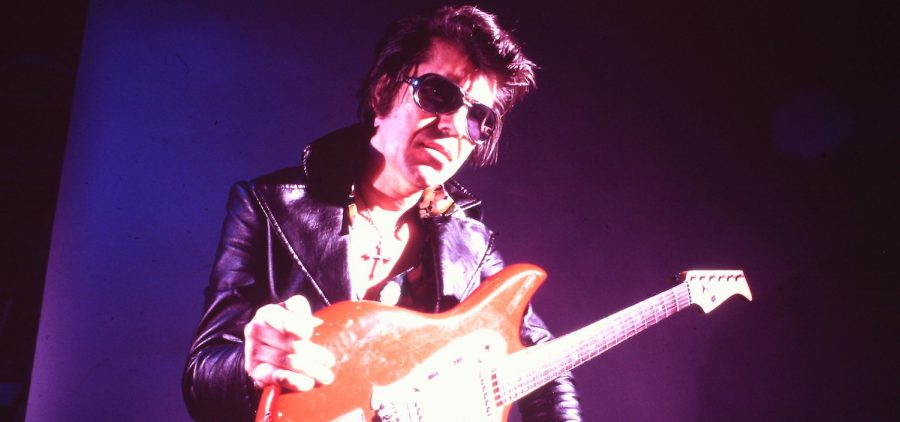 Rock guitar legend Link Wray (Shawnee), one of the Native American musicians profiled in RUMBLE. Circa 1970s.