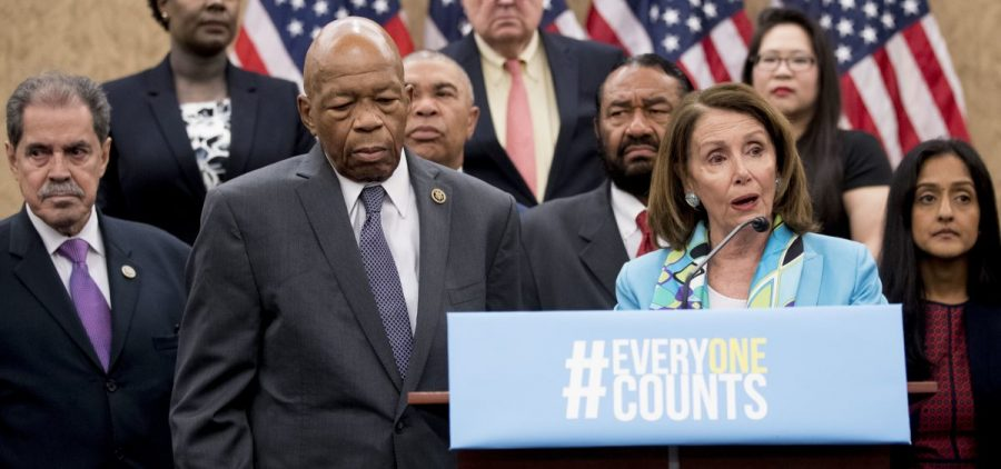 Nancy Pelosi of California (third from right), now House speaker, joins fellow Democrats, including Reps. José Serrano of New York and Elijah Cummings of Maryland, as well as other census advocates at a May 2018 press conference in Washington, D.C., about the new citizenship question on the 2020 census.