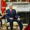 Vice President Mike Pence looks on as now-House Speaker Nancy Pelosi, D-Calif., argues with President Trump during a meeting in the Oval Office last month.