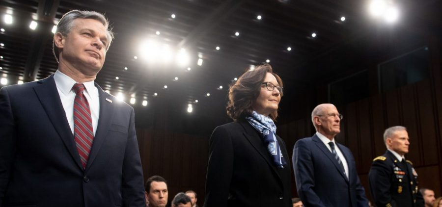 FBI Director Christopher Wray (from left); CIA Director Gina Haspel; Director of National Intelligence Daniel Coats; and Lt. Gen. Robert Ashley, director of the Defense Intelligence Agency, arrive to testify before the Senate intelligence committee on Capitol Hill on Tuesday.