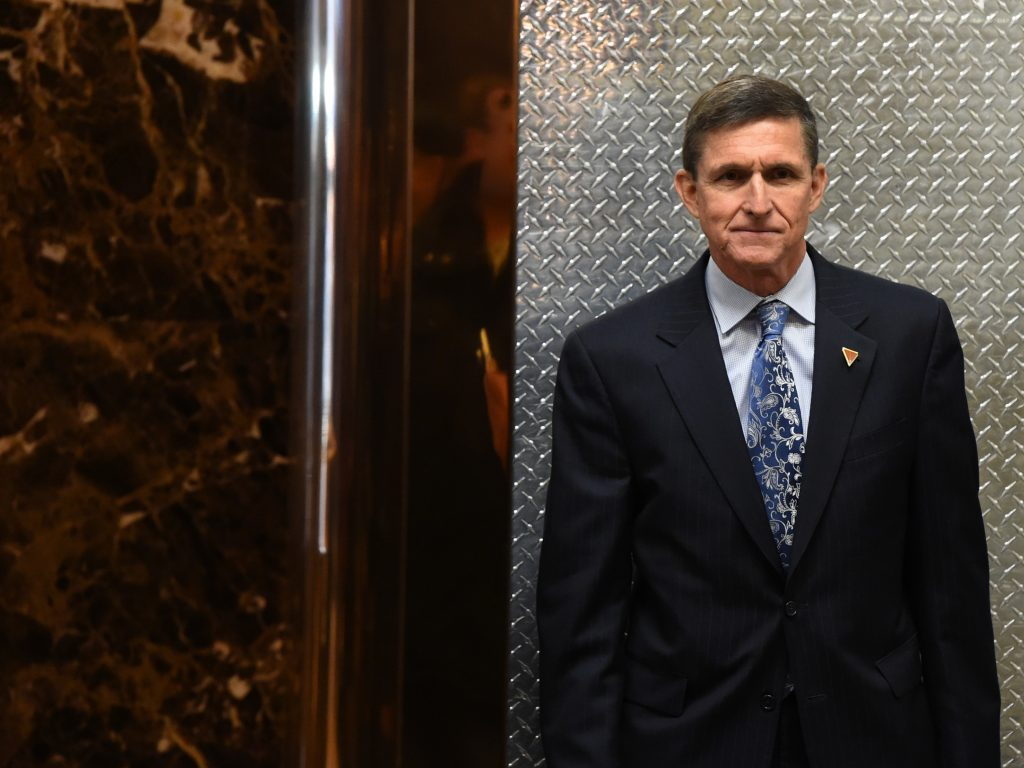 Michael Flynn arrives at Trump Tower on Jan. 4, 2017.