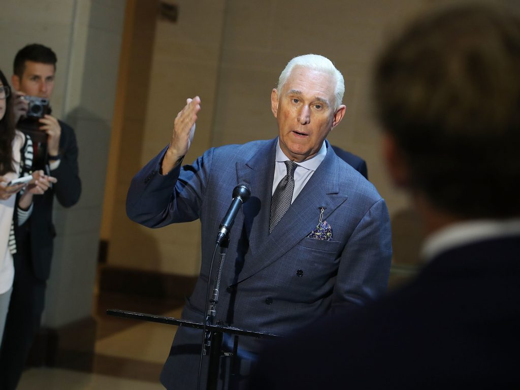 Roger Stone speaks to the media after appearing before the House Intelligence Committee on Sept.26, 2017.