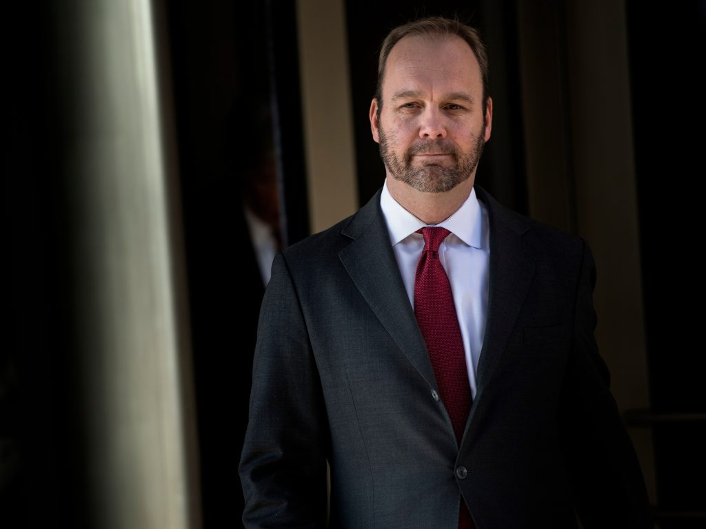 Former Trump campaign official Rick Gates leaves federal court in Washington, D.C. on Dec. 11, 2017.