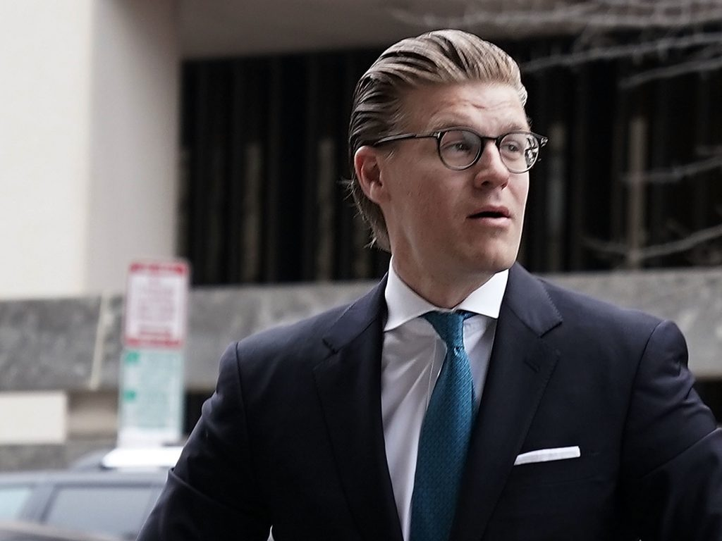 Alex van der Zwaan arrives at a U.S. district courthouse in Washington, D.C. for his sentencing on April 3, 2018.
