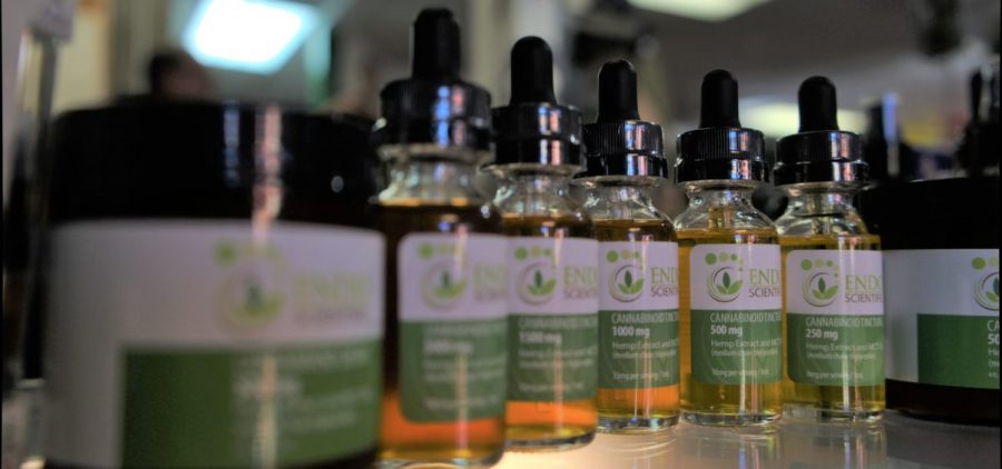 CBD oil from hemp on the shelves in Winkin' Sun Hemp Company.