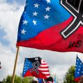 The National Socialist Movement, a neo-nazi group that has been designated a hate group by the Southern Poverty Law Center, held a rally in Newnan, Ga., in April 2018.
