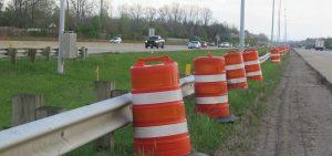 orange barrels on I-270