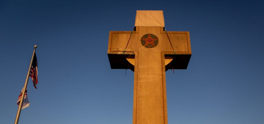 A World War I memorial cross sits in Bladensburg, Md., just outside Washington, D.C. The federal government asked the Supreme Court to rule in favor of the cross, which critics say is an unconstitutional state religious endorsement. Arguments are scheduled to be heard this week.