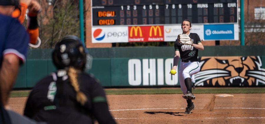 Ohio Softball Madi McCrady winding up to pitch