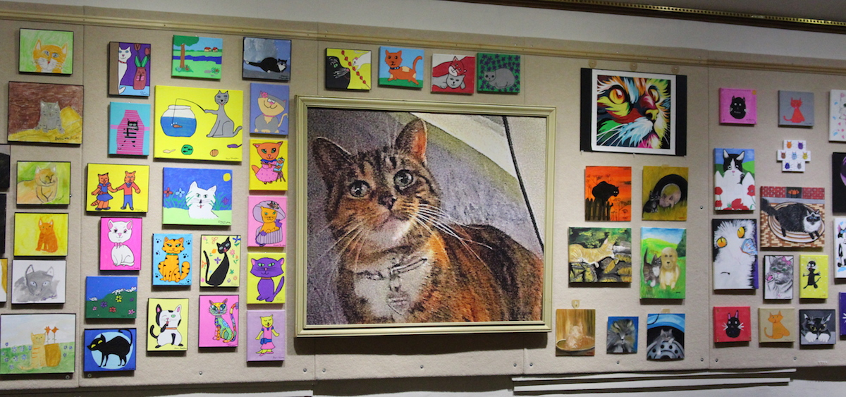671fe4b822 An image of some of the cat art that has been submitted to Arts West as a  part of their second annual Cat Art Show