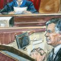 This courtroom sketch shows Paul Manafort listening to U.S. District court Judge T.S. Ellis III at federal court in Alexandria, Va., in August 2018. Manafort is being sentenced on Thursday.