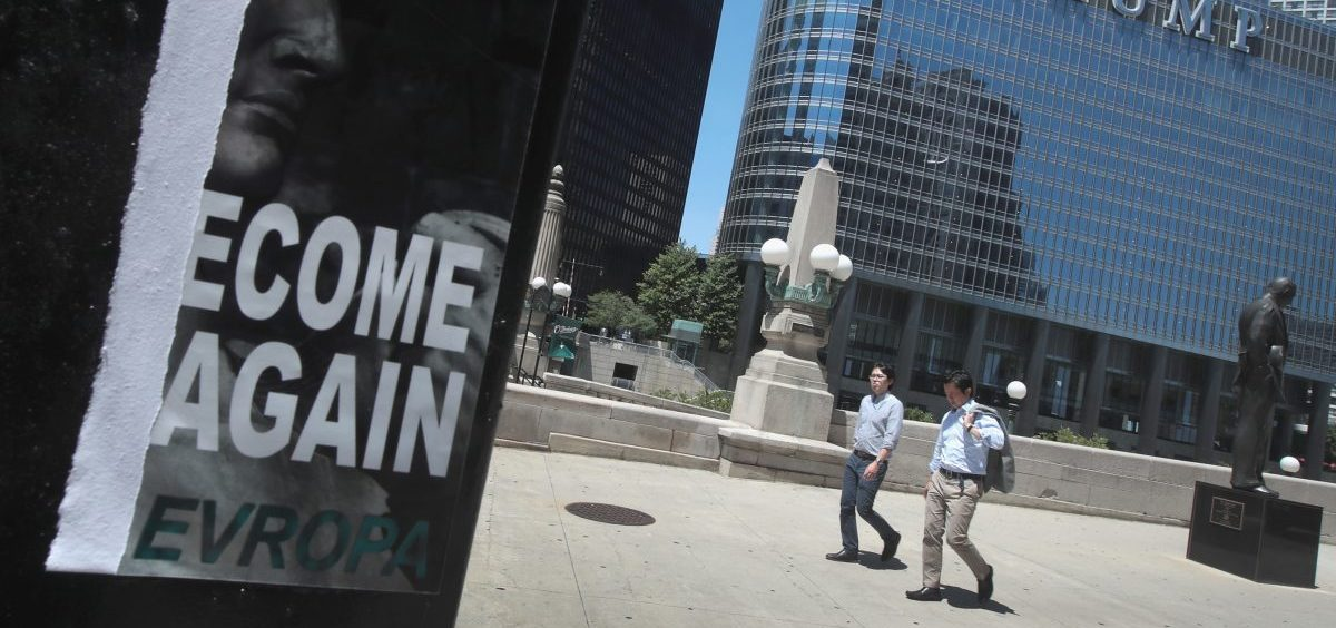 "A defaced recruiting flyer for Identity Evropa hangs near Trump Tower in Chicago, in July 2016. The flyer which read ""Let's Become Great Again"" was part of a 17-city recruitment effort by the white nationalist organization."