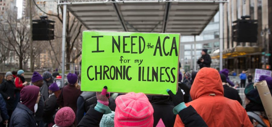 The Justice Department sent a letter in support of repealing the entirety of the Affordable Care Act. Here, a sign in support of the ACA in April 2017 in New York City.