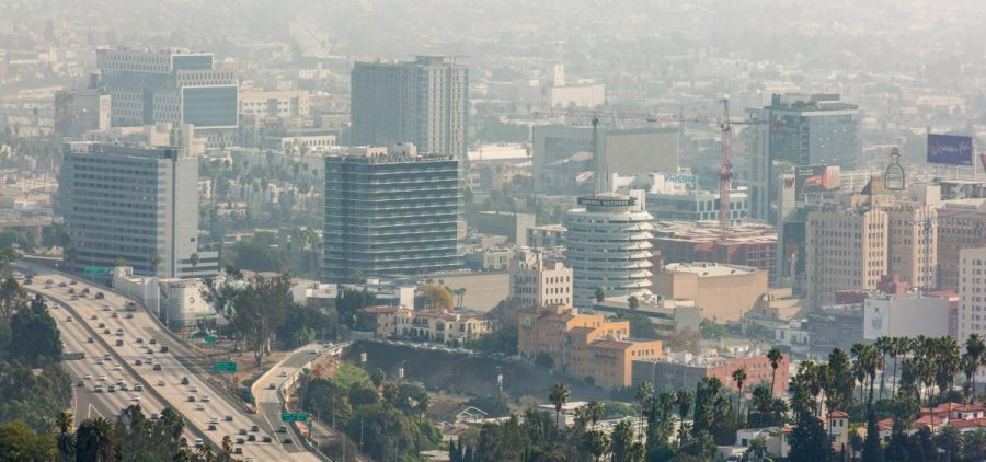 An elevated view of smog and air pollution in Hollywood, Los Angeles, California, USA.