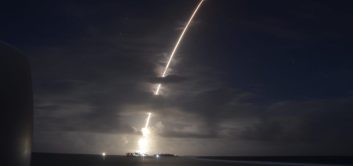A missile carrying a dummy warhead was fired from Kwajalein Atoll in the Pacific. It was intercepted by two defensive missiles fired from the California coast.