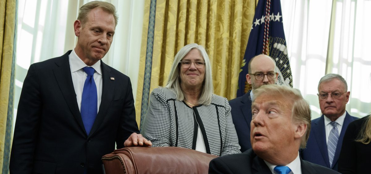 Acting Secretary of Defense Patrick Shanahan listens as President Trump speaks during a signing event for Space Policy Directive 4 in the Oval Office last month.