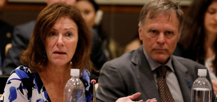 "Cindy and Fred Warmbier, parents of Otto Warmbier, released a statement saying, ""No excuses or lavish praise can change"" the fact that they hold North Korean leader Kim Jong Un responsible for their son's death. The Warmbiers are seen here at the U.N., where they spoke about human rights last May."