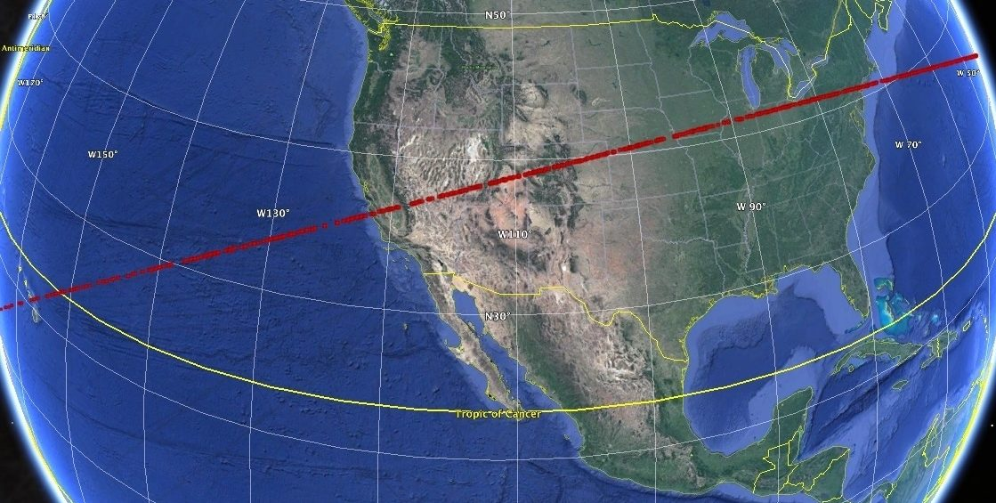 """A stripe of red dots shows the """"risk corridor"""" for a hypothetical asteroid strike, part of an exercise held by planetary defense experts in which they analyze data about a fictional asteroid this week."""