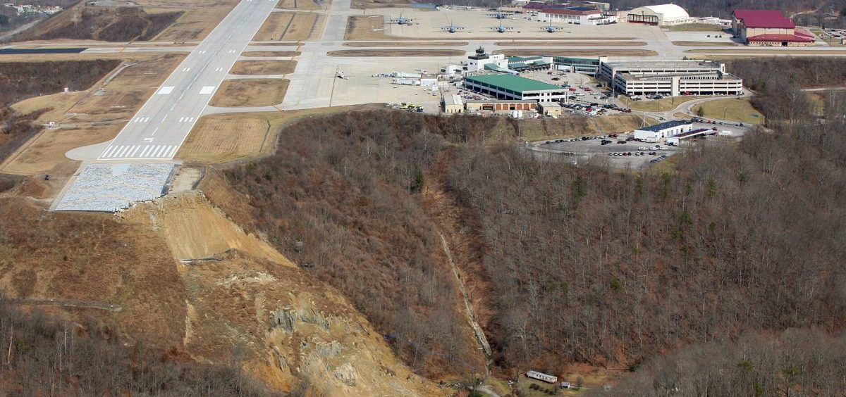 This photo released by the West Virginia National Guard shows a landslide Thursday, March 12, 2015 near Yeager Airport in Charleston, W.Va.