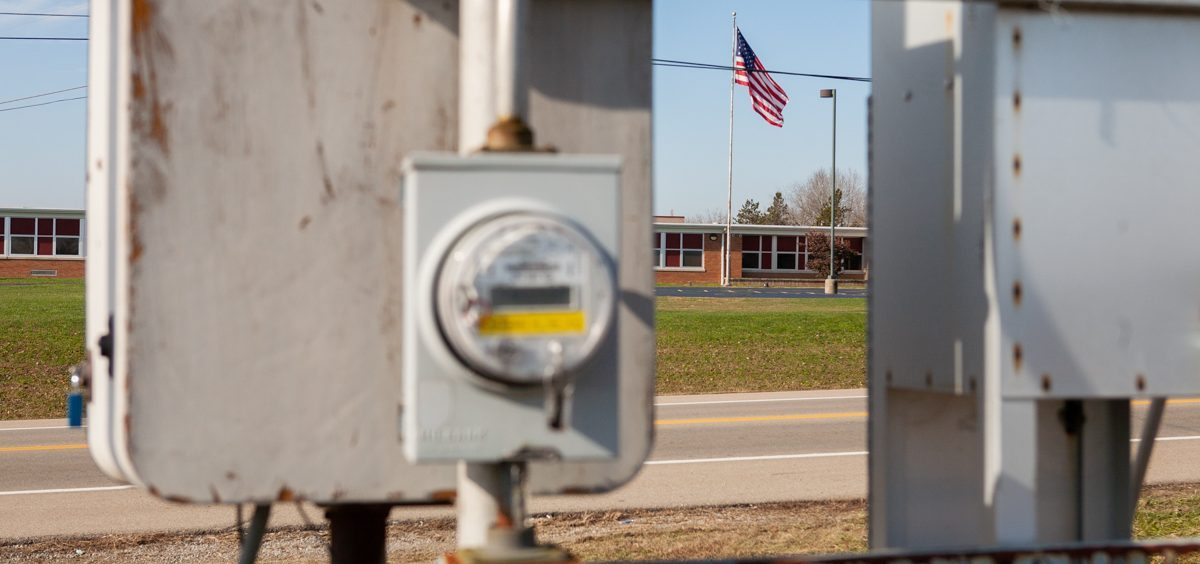 Zahn's Corner Middle School in Pike County is framed by the air quality monitor