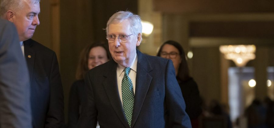 Senate Majority Leader Mitch McConnell, R-Ky., photographed at the Capitol in Washington in March, announced Thursday that he would introduce legislation to raise the minimum age for purchasing tobacco products to 21.