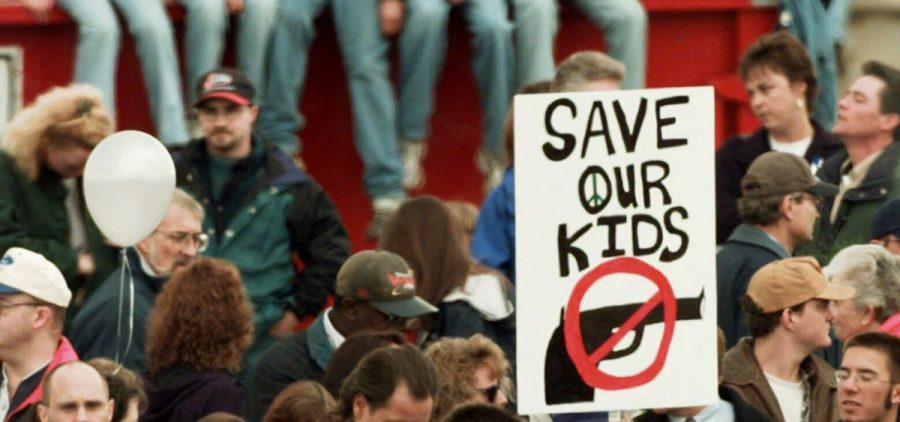 On April 25, 1999, a memorial service for the victims of the Columbine High School shooting Littleton, Colo.