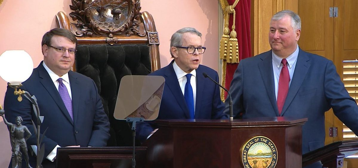 Senate President Larry Obhof (R-Medina, left) stands alongside Gov. Mike DeWine during DeWine's first State of the State speech in March.