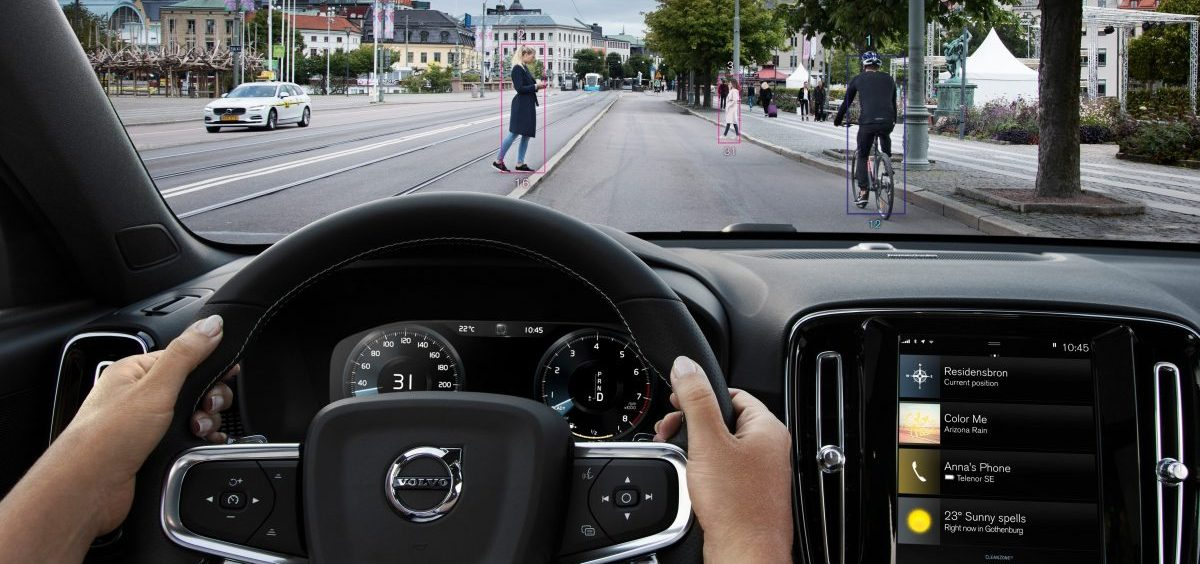 A photo demonstrates safety features in a Volvo XC40. Many new cars have optional features that can help prevent accidents. But those same features can also make repairs more expensive, boosting car insurance premiums.