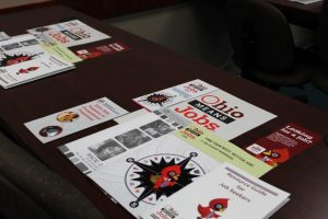 Resources for job seekers at a recent job fair in Coshocton, Ohio.