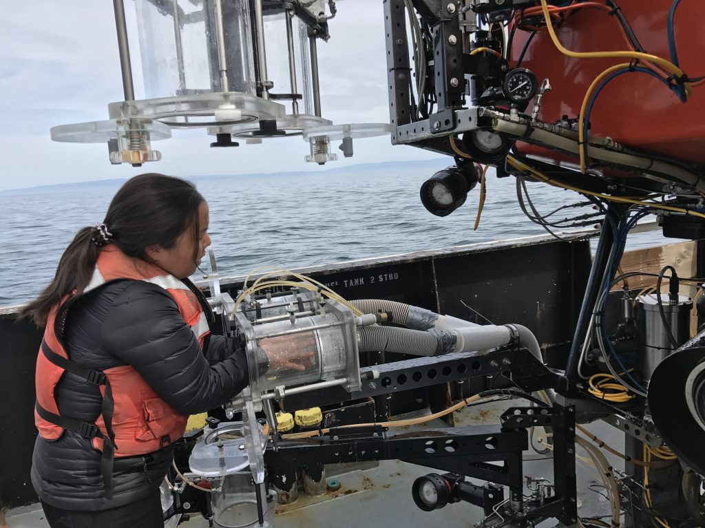 Marine biologist Anela Choy is part of the team researching microplastics on the research vessel Rachel Carson.