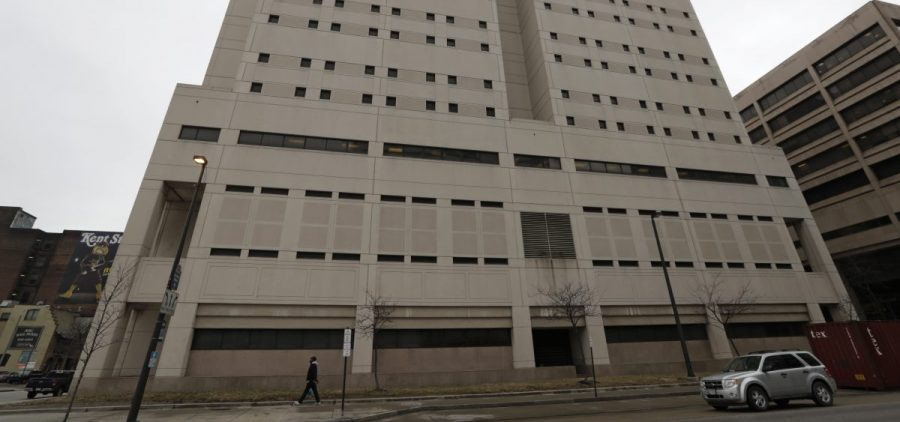 This Feb. 20, 2019 file photo, shows the exterior of the Cuyahoga County Corrections Center in Cleveland.