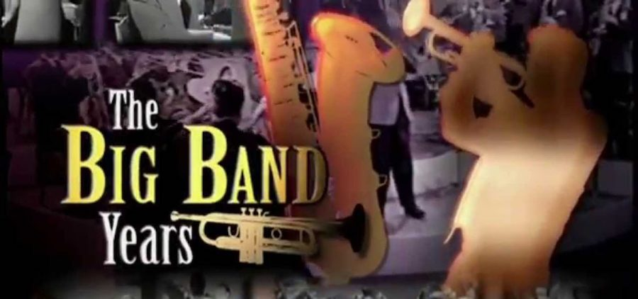 Image of trumpter and saxaphone over big band stage
