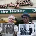 "two men in front of the store ""Harry the Hatter"" holding vintage photos"
