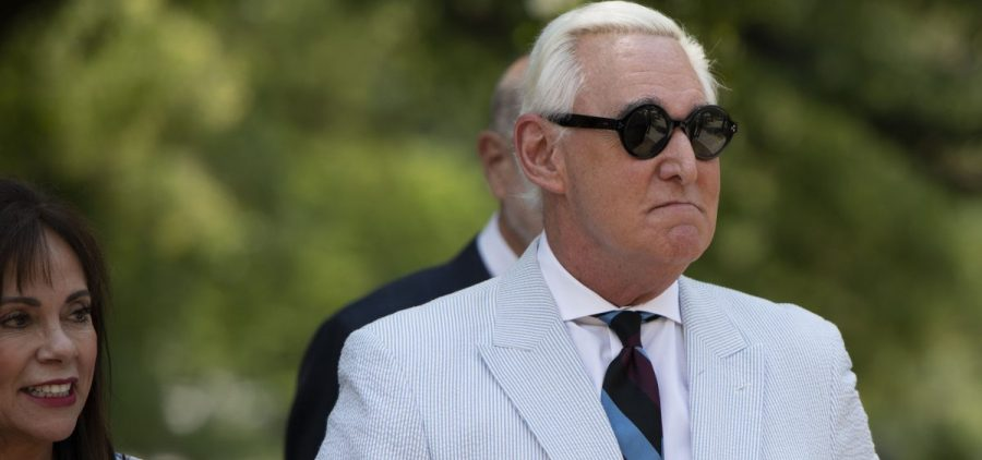 Roger Stone, a longtime confidant of President Donald Trump, accompanied by his wife, Nydia Stone, left federal court in Washington, Tuesday, July 16, 2019.