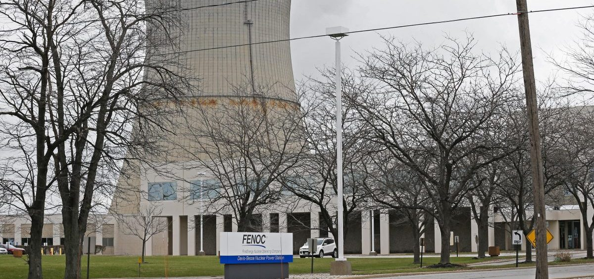 FILE – This April 4, 2017, file photo shows the entrance to FirstEnergy Corp.'s Davis-Besse Nuclear Power Station in Oak Harbor, Ohio.