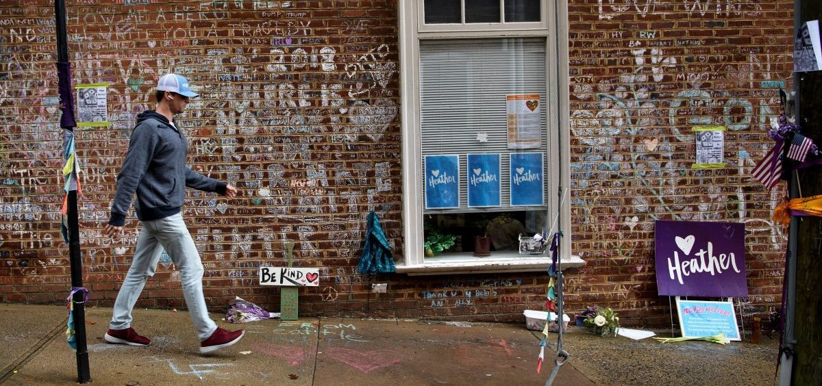 A memorial to Heather Heyer, the 32-year-old counterprotester who was killed by James Fields Jr., was on display last year in Charlottesville, Va.